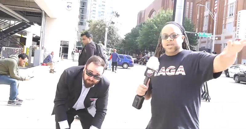 Democrats Run Away From Black Man in MAGA Shirt!
