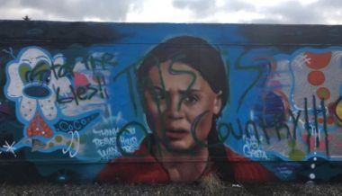 """Stop the Lies"": Mural of Greta Thunberg Defaced in Canada"