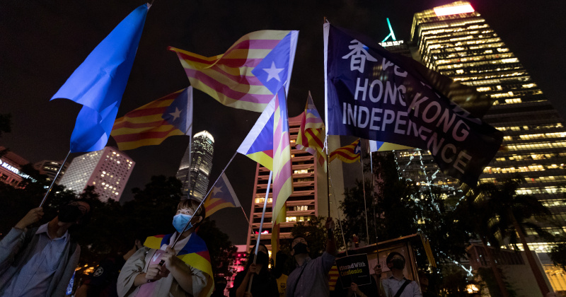 Hong Kong Protesters Show Support For Catalan Separatists