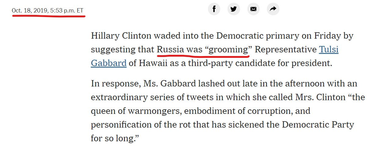 """NYT Quietly Edits Article: Now Claims Hillary Accused """"Republicans,"""" NOT """"Russians,"""" of Grooming Tulsi Gabbard"""