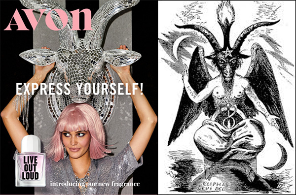 Bizarre: Avon Catalog Features Image of Woman Caressing Baphomet