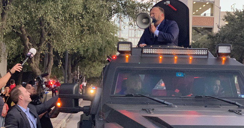 Alex Jones Attends Dallas Trump Rally in Armored Vehicle