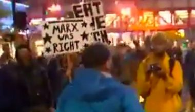 """Leftists Hold """"Marx Was Right"""" Sign – While Hong Kong Protesters Beg for Liberation from Communism"""