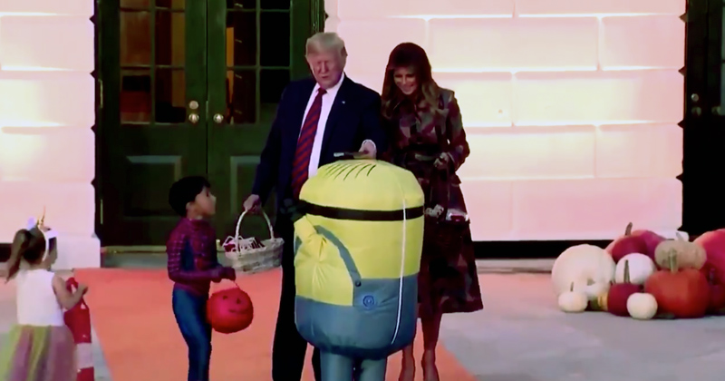 Leftists Lose It After Trump Places Candy on Trick-or-Treater's Head