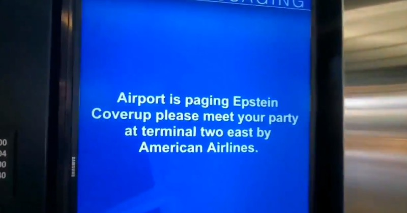 """Airport Pages """"Epstein Coverup"""" as Viral Meme Spreads"""