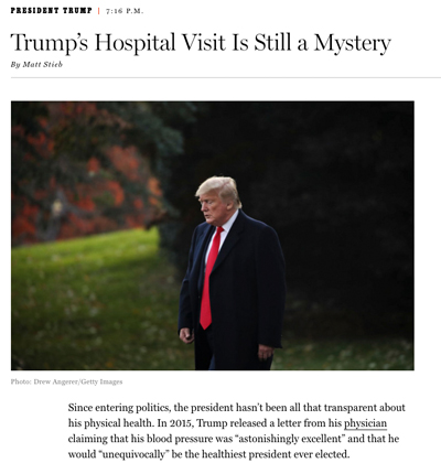 WHITE HOUSE SOURCE: TRUMP MADE UNEXPECTED HOSPITAL VISIT TO TEST FOR INTENTIONAL POISONING 111819screenshot