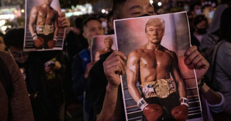 Hong Kong Protesters Gather On Thanksgiving After Trump Signs Pro-Democracy Legislation