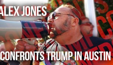 Alex Jones Confronts Leftist Demons & Trump In Austin
