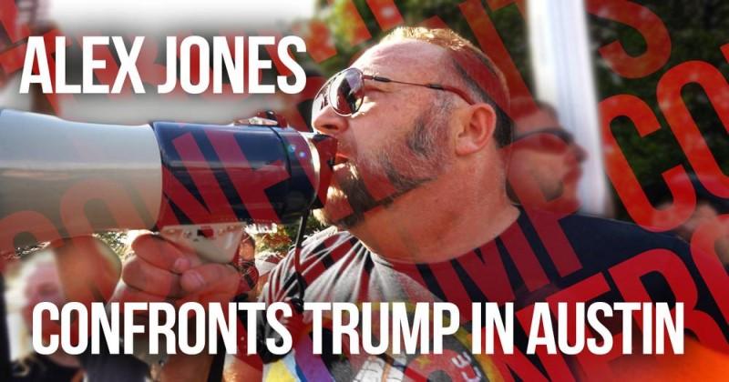 Alex Jones Confronts Leftist Demons & Trump In Austin