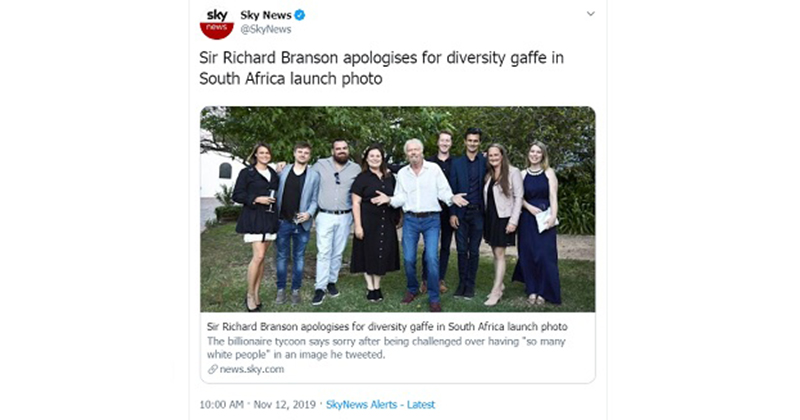 'Diversity Gaffe': Richard Branson Apologizes For Appearing In A Photo With White People