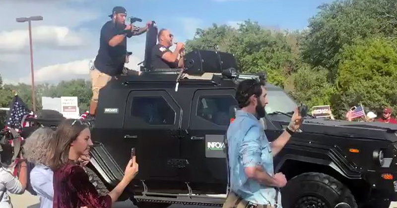 Alex Jones Bullhorns Trump from Battle Tank During Austin Visit to Apple HQ