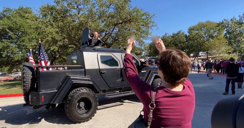 Alex Jones Invades Hillary Clinton Rally In Tank