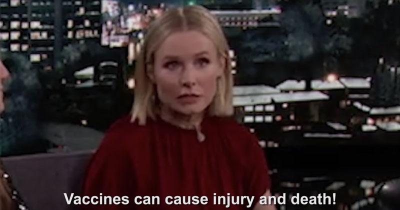 ANTI-VAXXERS CRASH JIMMY KIMMEL SHOW TO WARN OF VACCINE DANGERS Kristenbellvaccine097