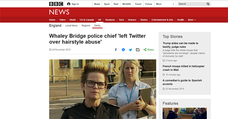 POLICE CHIEF LEFT TWITTER OVER 'HAIRSTYLE ABUSE,' REPORTED 'INSULTS' AS A 'HATE CRIME' ahahaha Police-chief-quit-twitter-over-hairstyle-insults