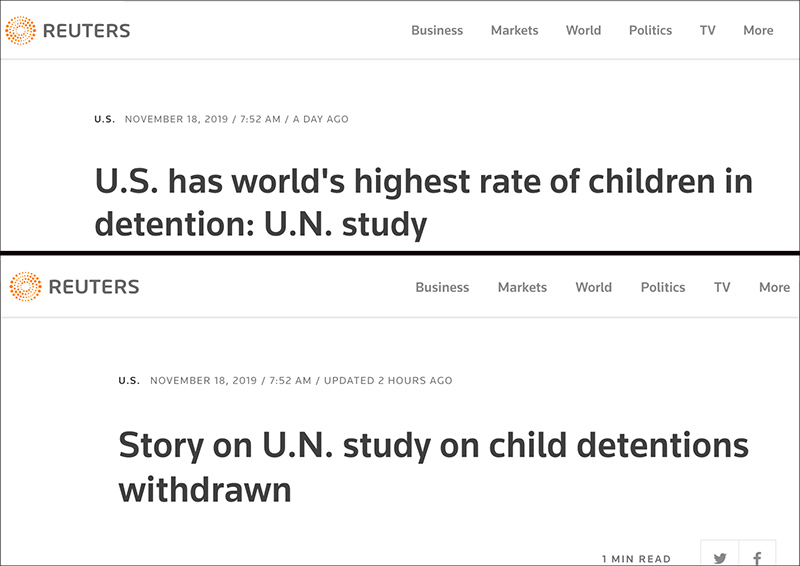 MSM Purges Reports Claiming 'US Has World's Highest Rate of Children in Detention' After UN Expert Clarifies Numbers from Obama Era