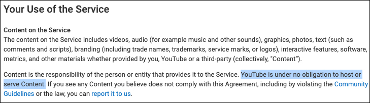 "NEW YOUTUBE TERMS: ACCOUNTS DEEMED NOT ""COMMERCIALLY VIABLE"" CAN BE DELETED Tos-obligation1234235"