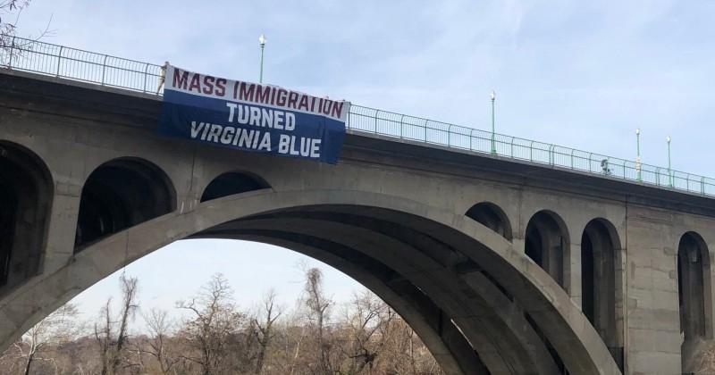 'Mass Immigration Turned Virginia Blue' Banner Hung Over Bridge in Arlington