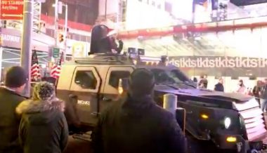 Watch Live: Armored Truck Bullhorns New York Times HQ