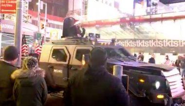 Watch Live: Armored Truck Bullhorns New York Times HQ