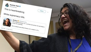 "Rep. Rashida Tlaib Blames ""White Supremacy"" For Shooting Carried Out by Member of Black Supremacist Group"