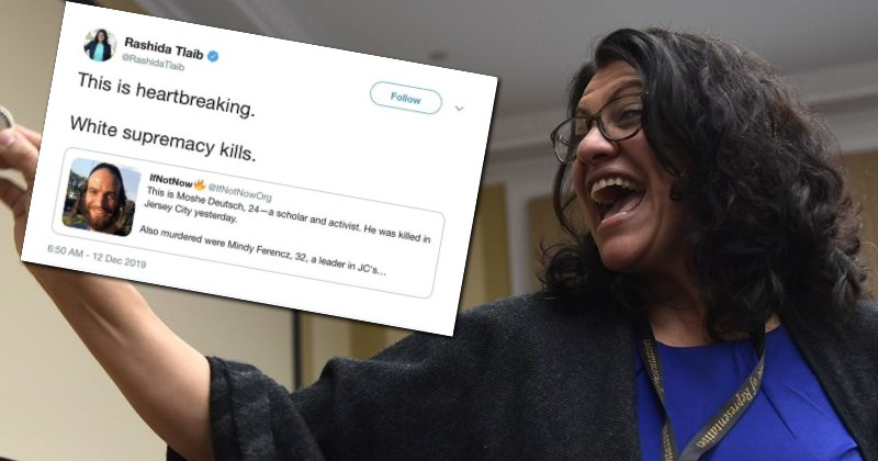 """Rep. Rashida Tlaib Blames """"White Supremacy"""" For Shooting Carried Out by Member of Black Supremacist Group"""