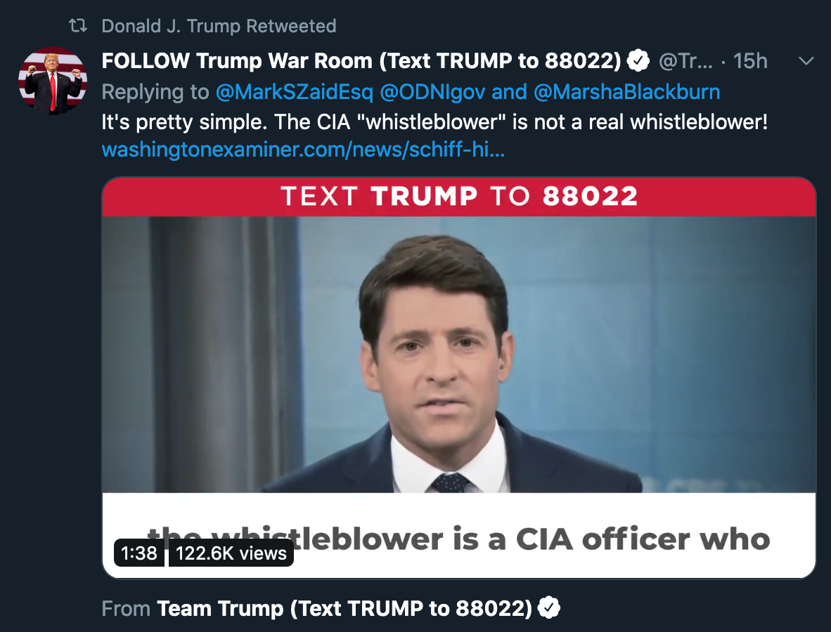Trump Retweets Article Outing Eric Ciaramella as the 'Whistleblower'
