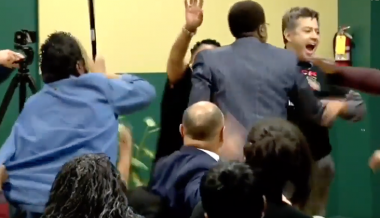 White Man Steals Mic From A Black Buttigieg Supporter As Black Lives Matter Protesters Interrupt Meeting