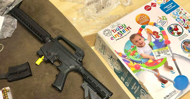 Couple Finds Rifle Inside Baby Bouncer Box Bought at Goodwill