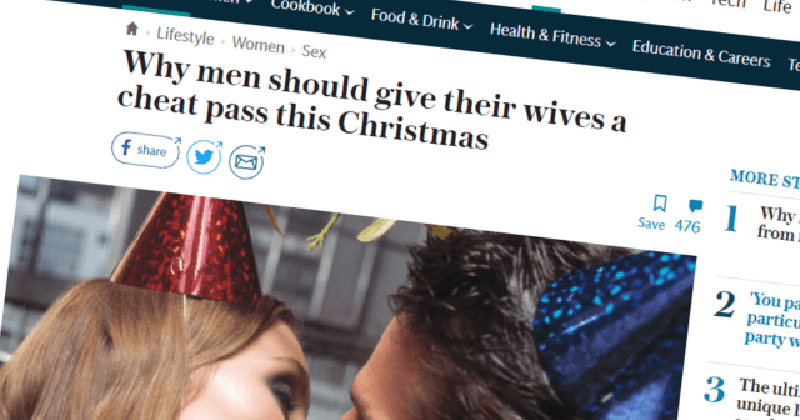 It's Christmas! So a British Newspaper Is Encouraging Wives to Cheat on Their Husbands… Again