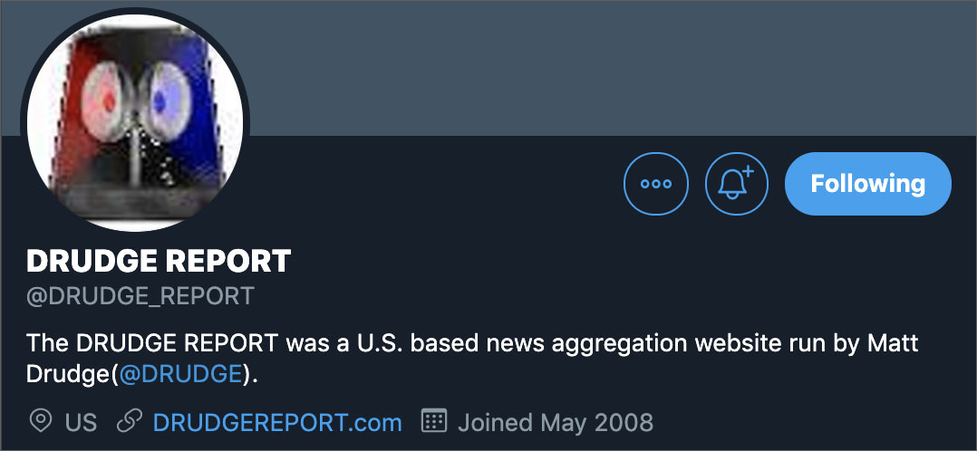 Correction: Drudge Report Fan Twitter Account Falsely Claims DrudgeReport.Com No Longer Owned By Matt Drudge