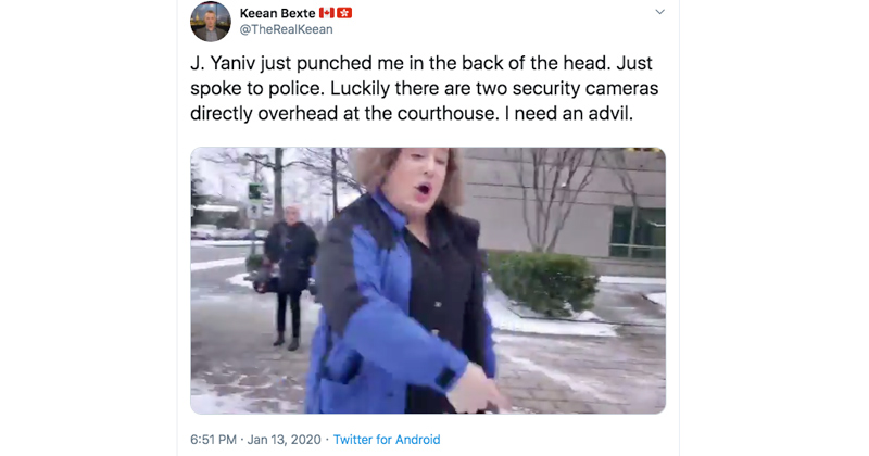 Video: 'Wax My Balls' Trans Activist Throws Fists at Reporter