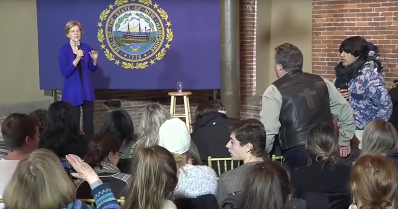 """Man Confronts Elizabeth Warren: """"You're Siding With ISIS, You're Siding With Iran!"""""""