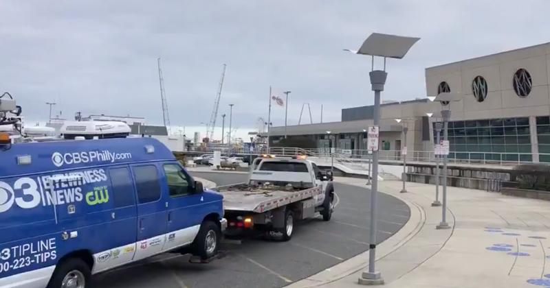 Video: CBS News Van Gets Towed from Trump Rally