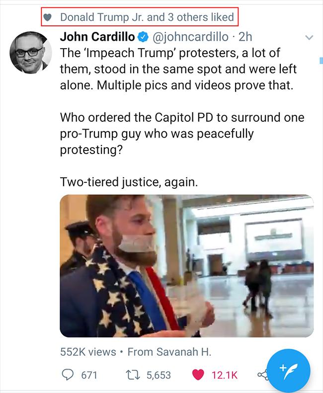 Donald Trump Jr. Shows Support for Owen Shroyer Following Arrest