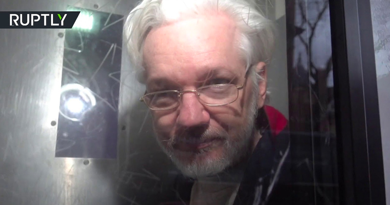 WATCH: Assange Caught On Camera Leaving UK Court in Prison Van after US Extradition Hearing