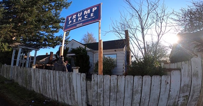 "Liberal Defies City, Neighbors to Display Huge ""Trump 2020"" Sign"