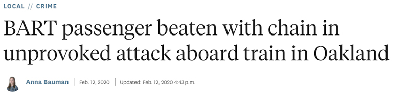 SF Paper Reports on Unprovoked Train Attack on Same Day It Asks Why People Won't Ride Train