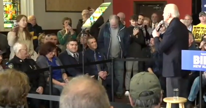 Joe Biden Shut Down by Climate Hecklers During New Hampshire Campaign Stop