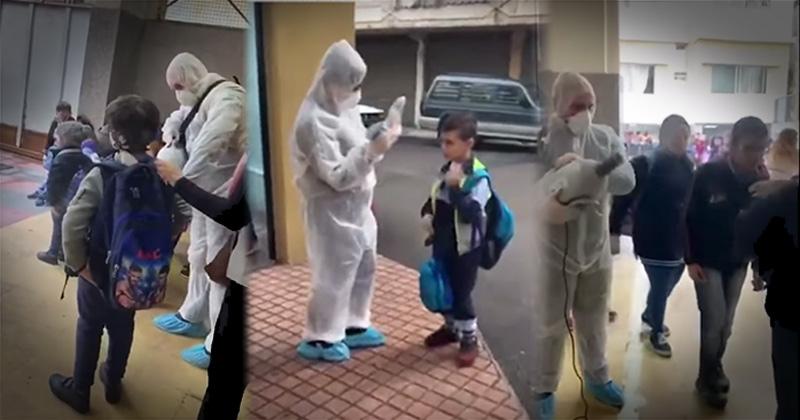 Lebanese Students Sprayed With Disinfectant To Prevent Coronavirus