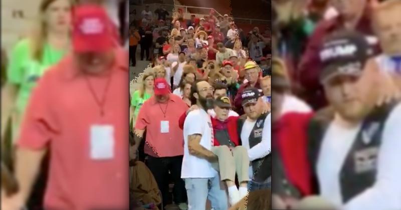 Video: Patriots Carry World War II Veteran into Trump Rally