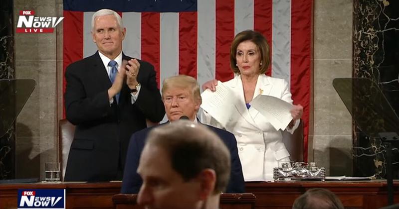 Nancy Pelosi Rips Up Copy Of Trump's SOTU Speech As He Finishes Speaking