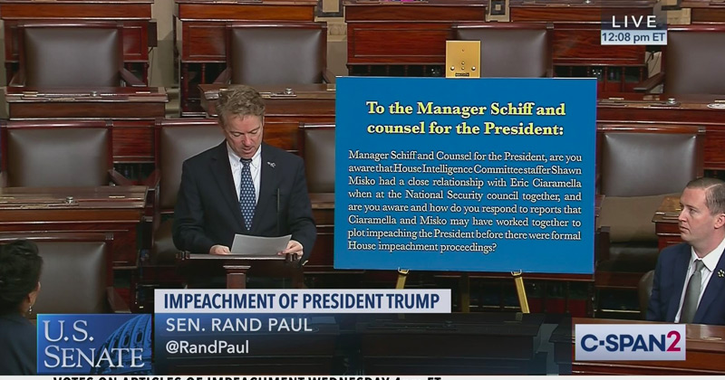 Watch: Rand Paul Reads 'Declined' Question About Eric Ciaramella During Impeachment Trial