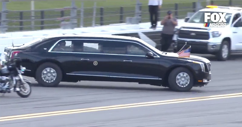 Watch: Trump Makes Appearance At Daytona 500, Takes Lap Around Track in 'Beast' Limo