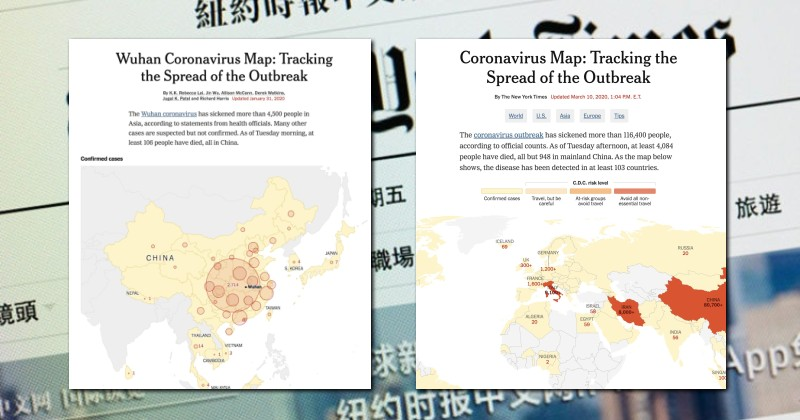 New York Times Deletes Word 'Wuhan' From Its Coronavirus Tracking Map