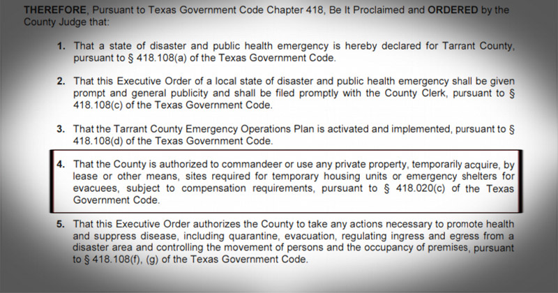 Texas' Third Largest County Suspends Private Property Rights Amid COVID-19