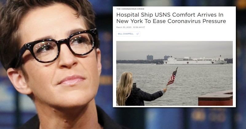"""Maddow Claimed It Was """"Nonsense"""" A Naval Hospital Ship Would Dock in New York by Next Week; It's Arrived"""