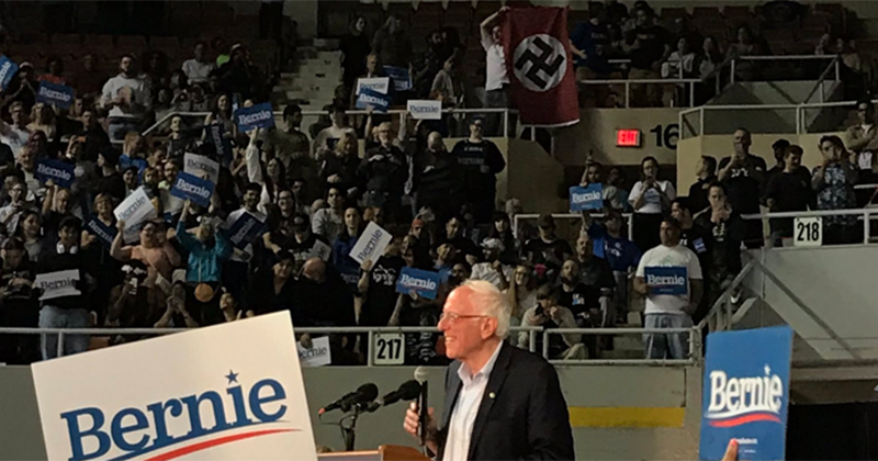 Video: Man Removed from Bernie Sanders Rally After Waving a Nazi Flag