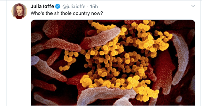 Leftist Journo Takes Pleasure In US Becoming Worst Hit Coronavirus Nation: 'Who's The S***hole Country Now?'