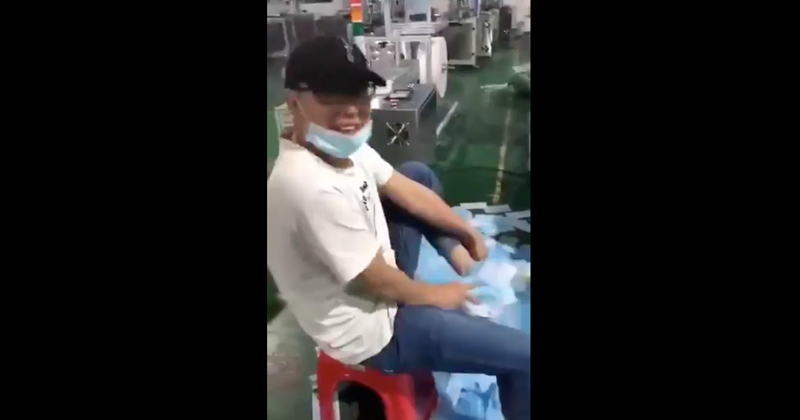 Shock Video: Chinese Factory Worker Wipes Shoes with Face Masks