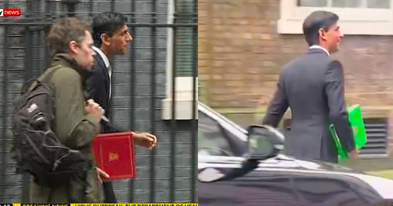 Mystery: UK Chancellor's Budget Folder Changes Red to Green in Odd Video